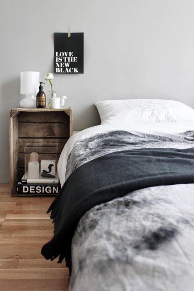 Scandinavian bedroom mamaisonblanche nighstand crate wood