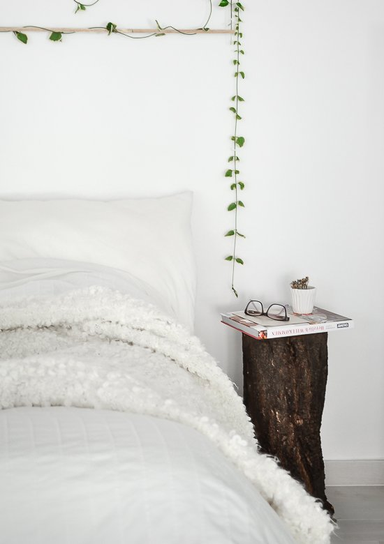 Scandinavian bedroom passionshake nighstand treetrunk