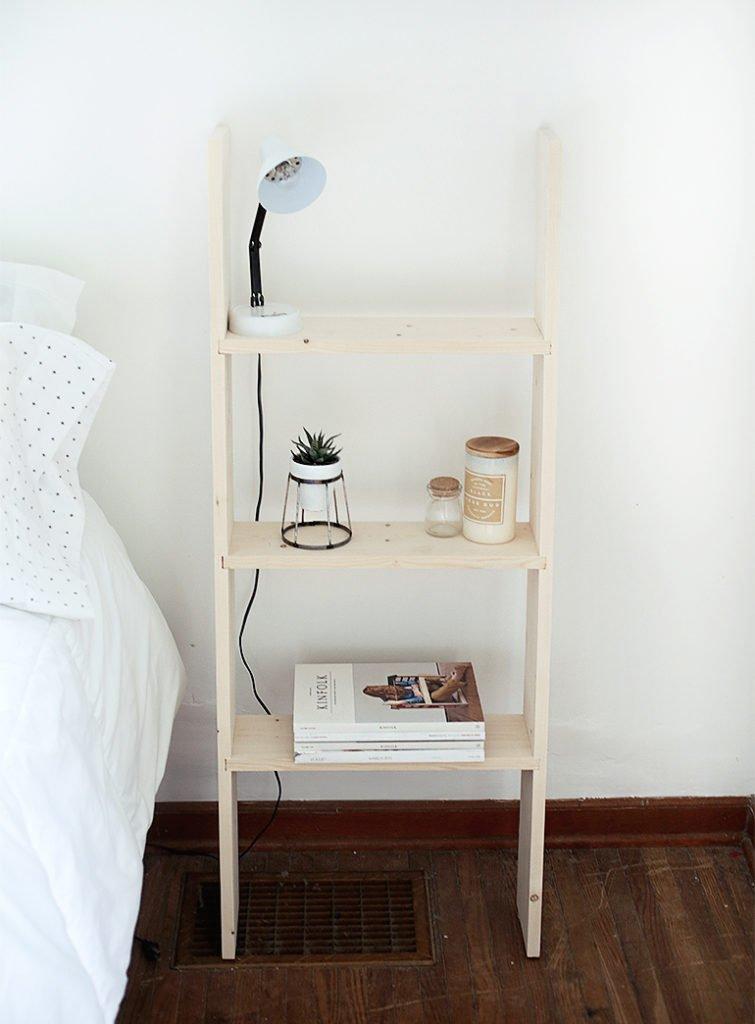 diy ladder shelf nighstand bedroom themerrythought