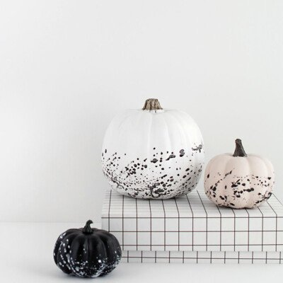 minimal halloween paint splattered pumpkins DIY