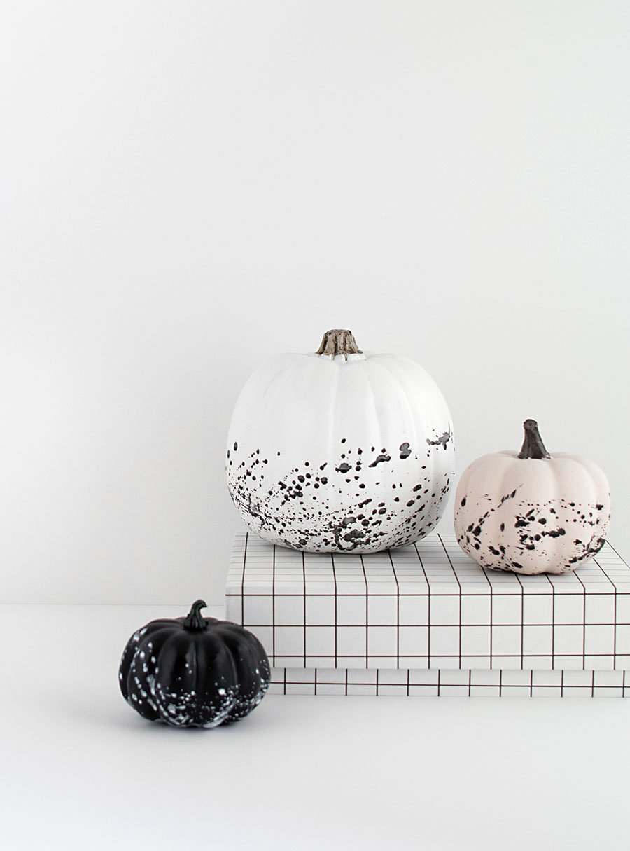 minimal halloween paint splattered pumpkins DIY