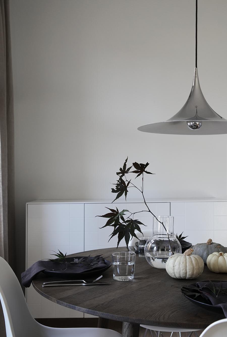 minimal halloween table setting black