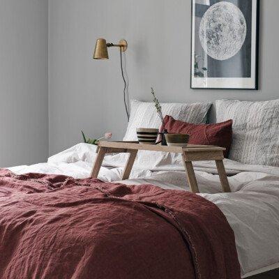 cozy home sweden bedroom bed grey