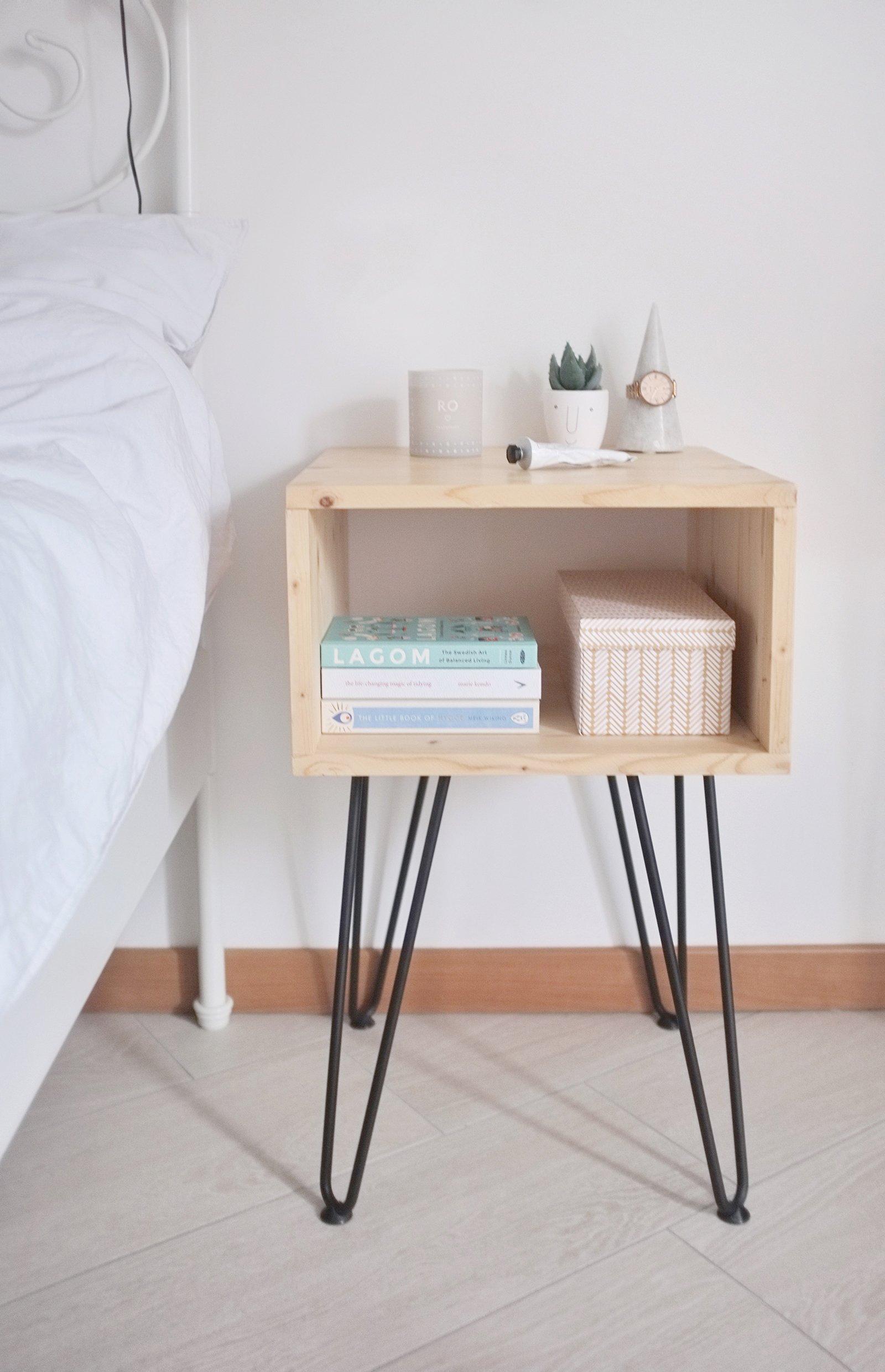 diy interior nightstand hairpinlegs bedroom 2