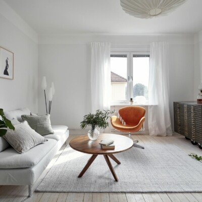 minimal swedish home livingroom cozy