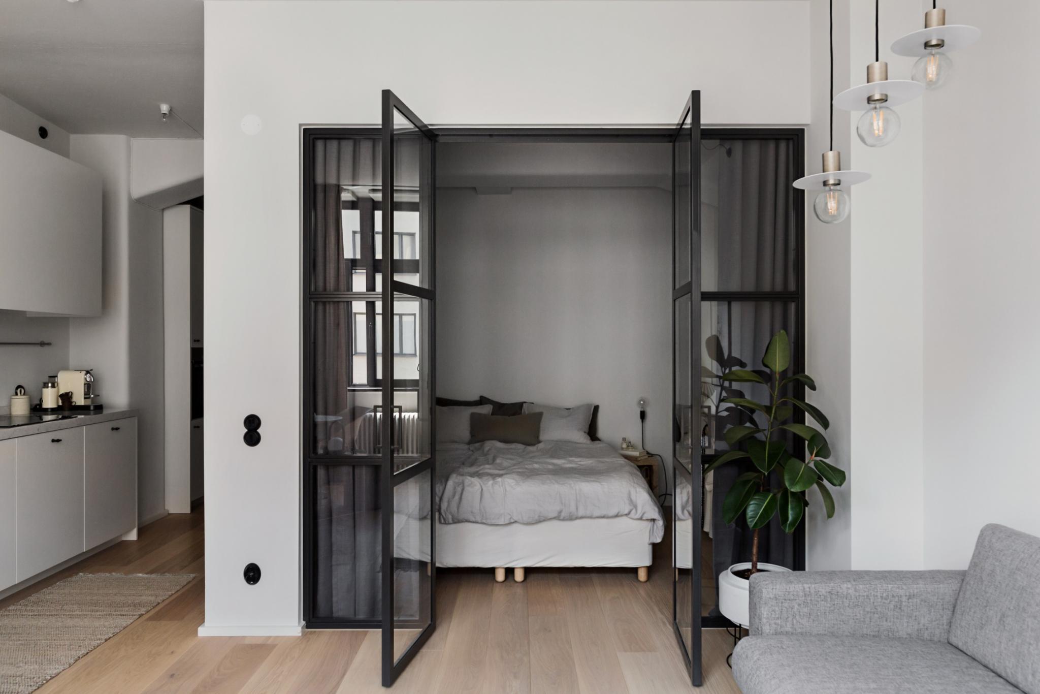 grey bedroom hygge glass doors
