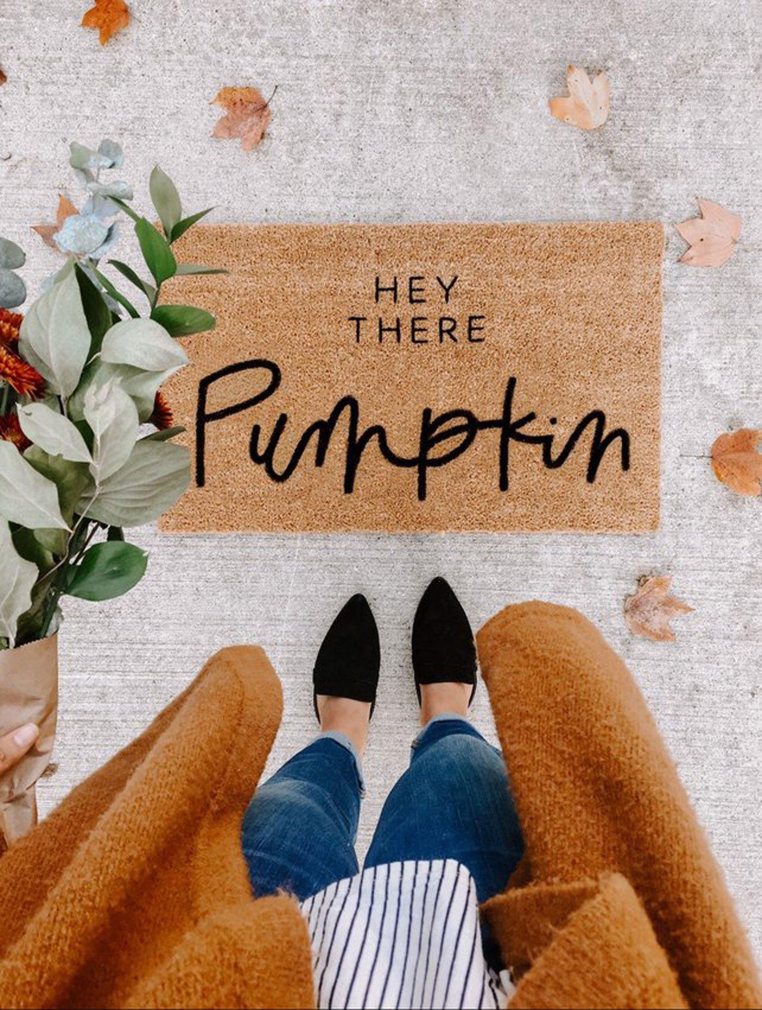 autumn decor DIY idea doormat pumpkin