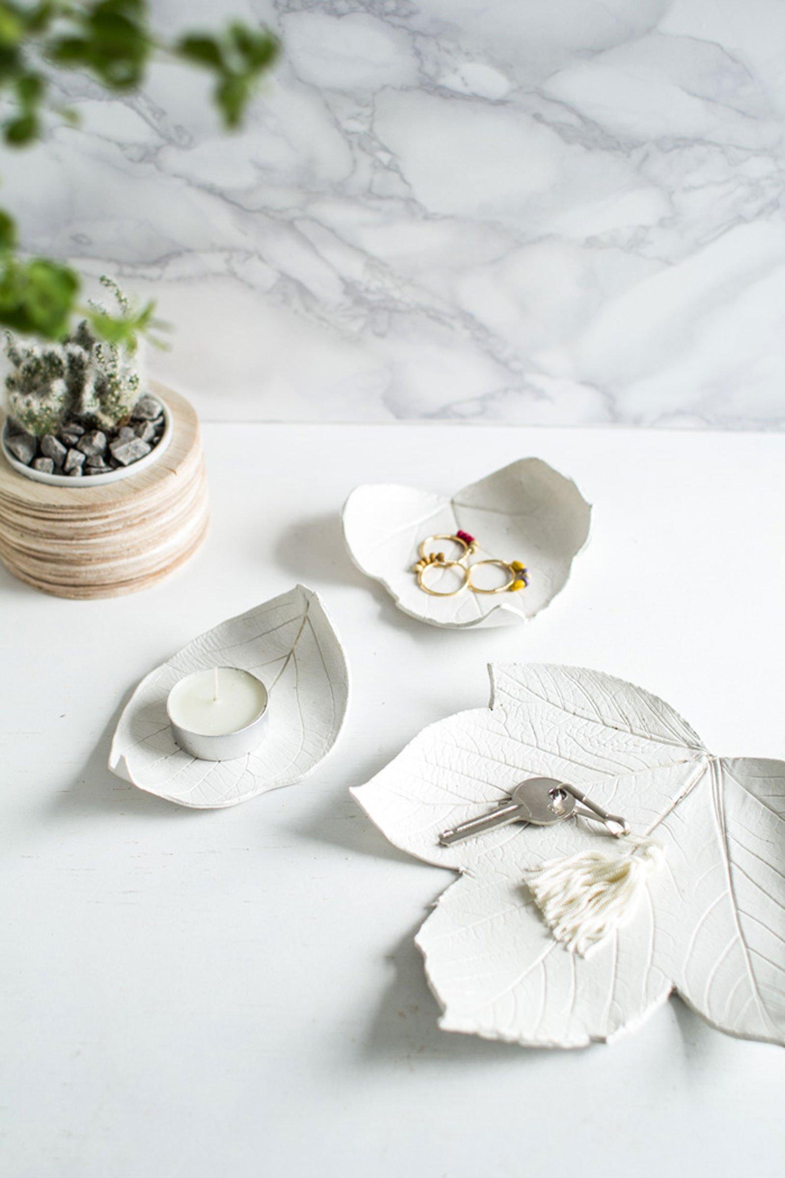 autumn decor DIY idea leaf dish