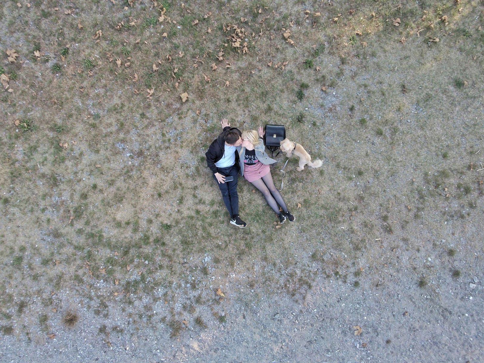 lake sunday hygge drone couple