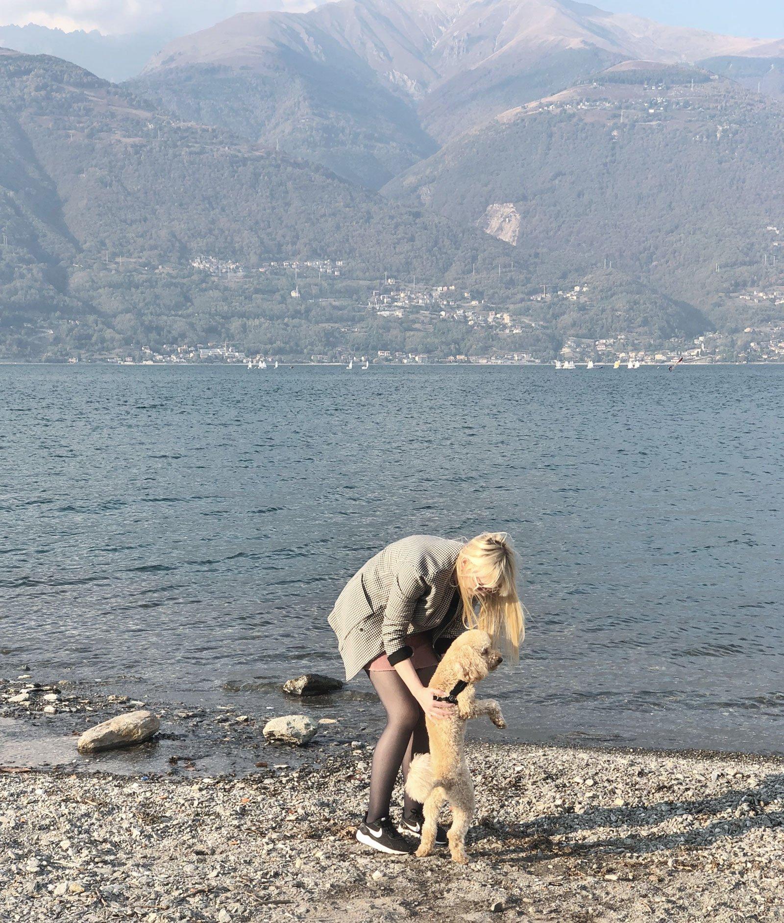 lake sunday hygge girl dog