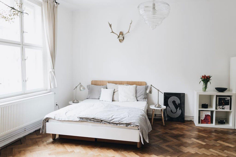 scandinavian apartment prague airbnb bedroom
