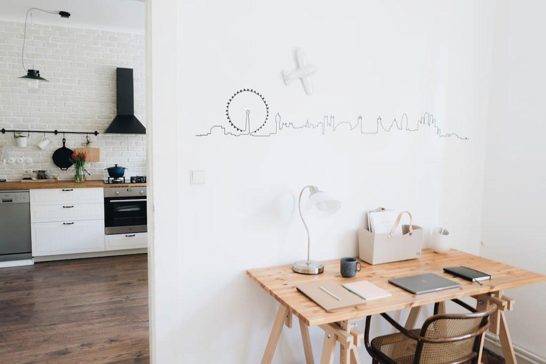 scandinavian apartment prague airbnb desk