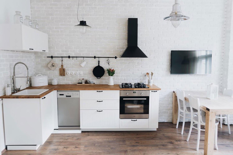scandinavian apartment prague airbnb kitchen