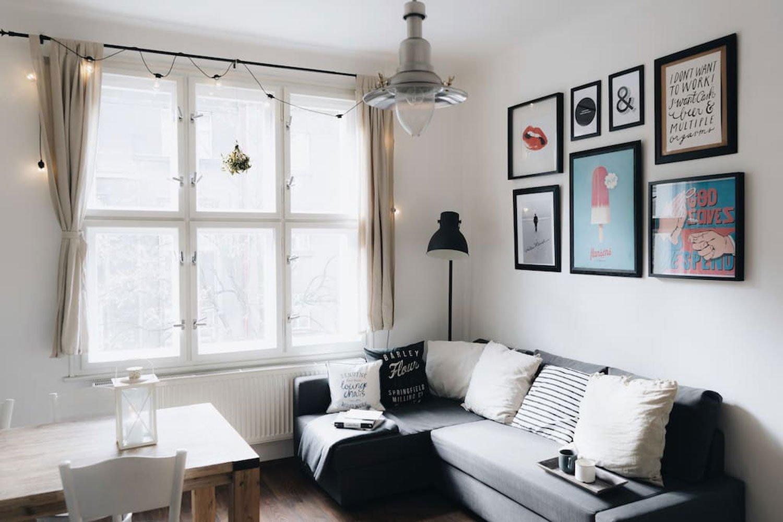scandinavian apartment prague airbnb sofa cozy