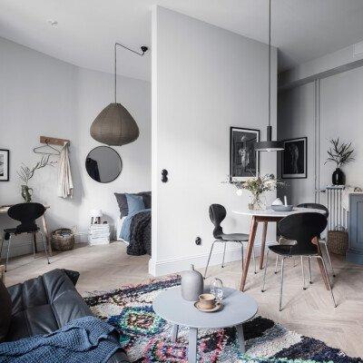 cozy small sweden interior livingroom