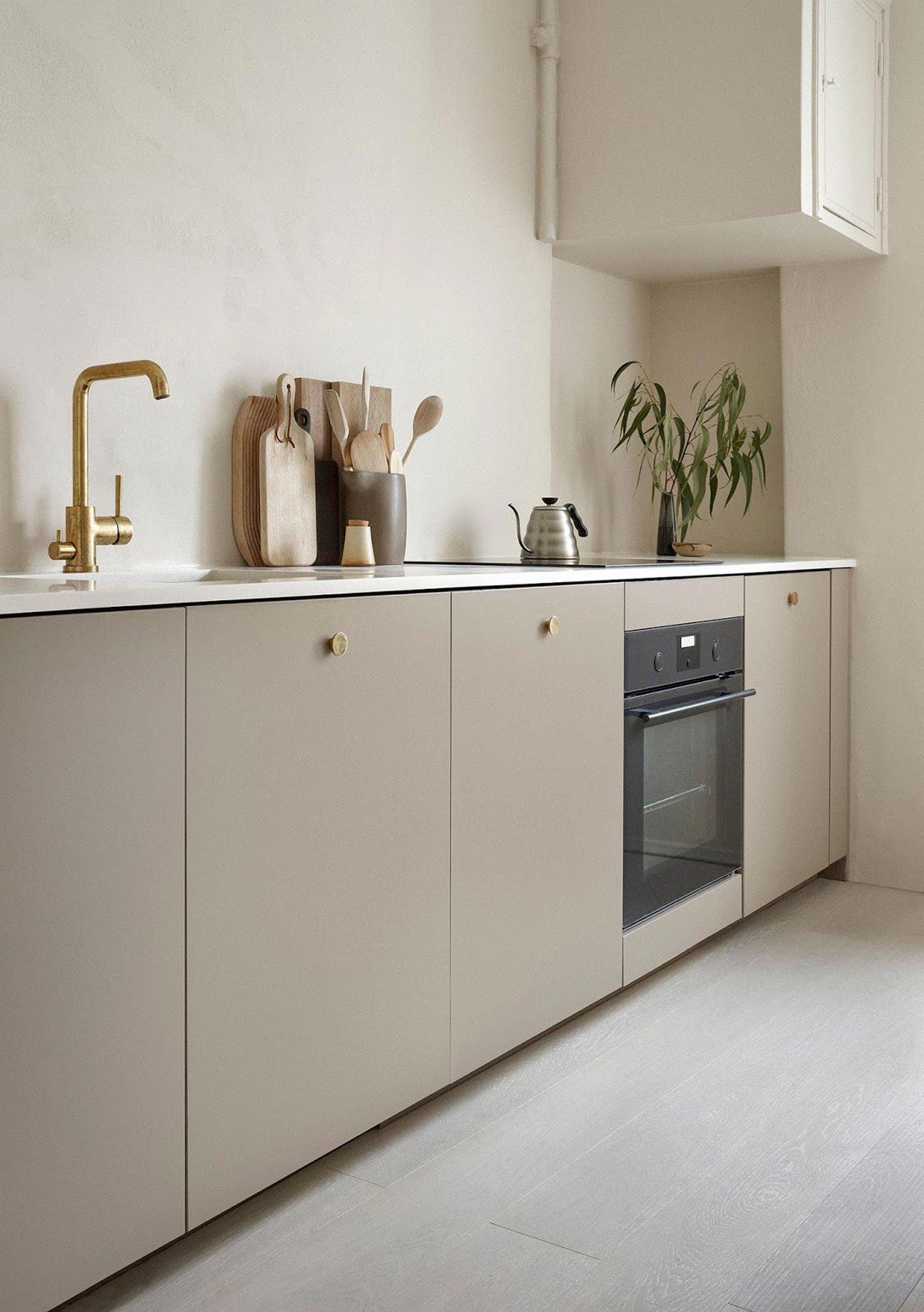 kitchen inspiration beige gold minimal nordic