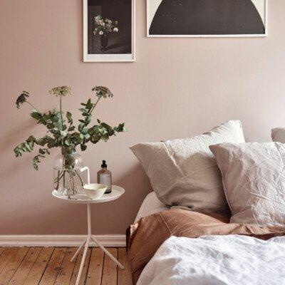 dusky pink bedroom details calm cozy scandinavian