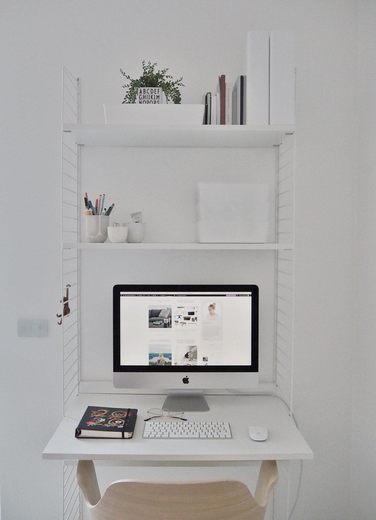 productivity calm work space stringshelf organized desk