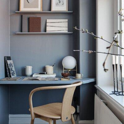 that scandinavian feeling office home blue shelf