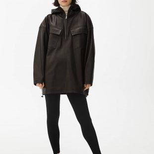 cozy leather jacket scandinavina style fashion autumn