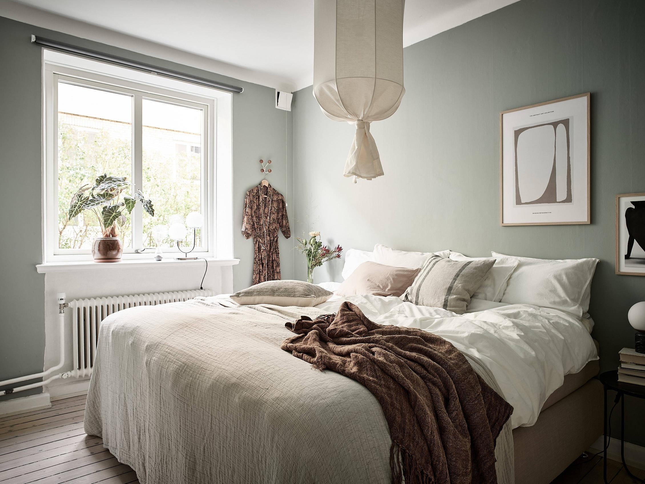 scandinavian feeling bedroom cozy green 1