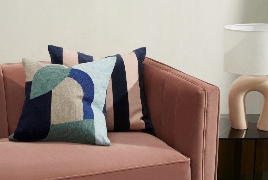 scandinavian feeling interior trend colourful block cushion