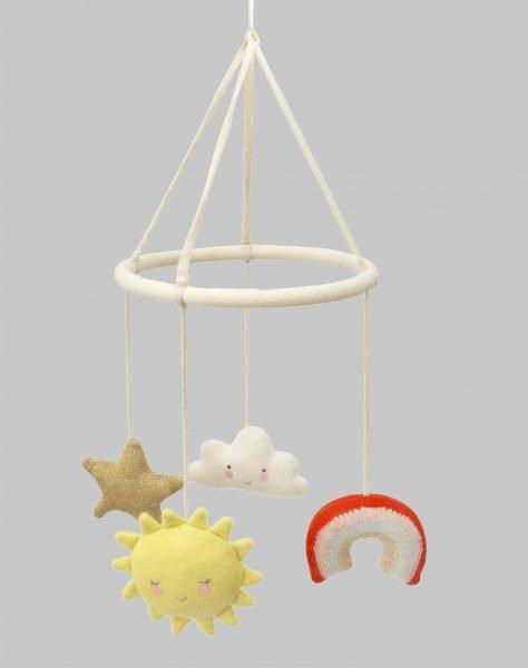 scandinavian feeling nursery decor kids mobile closeup