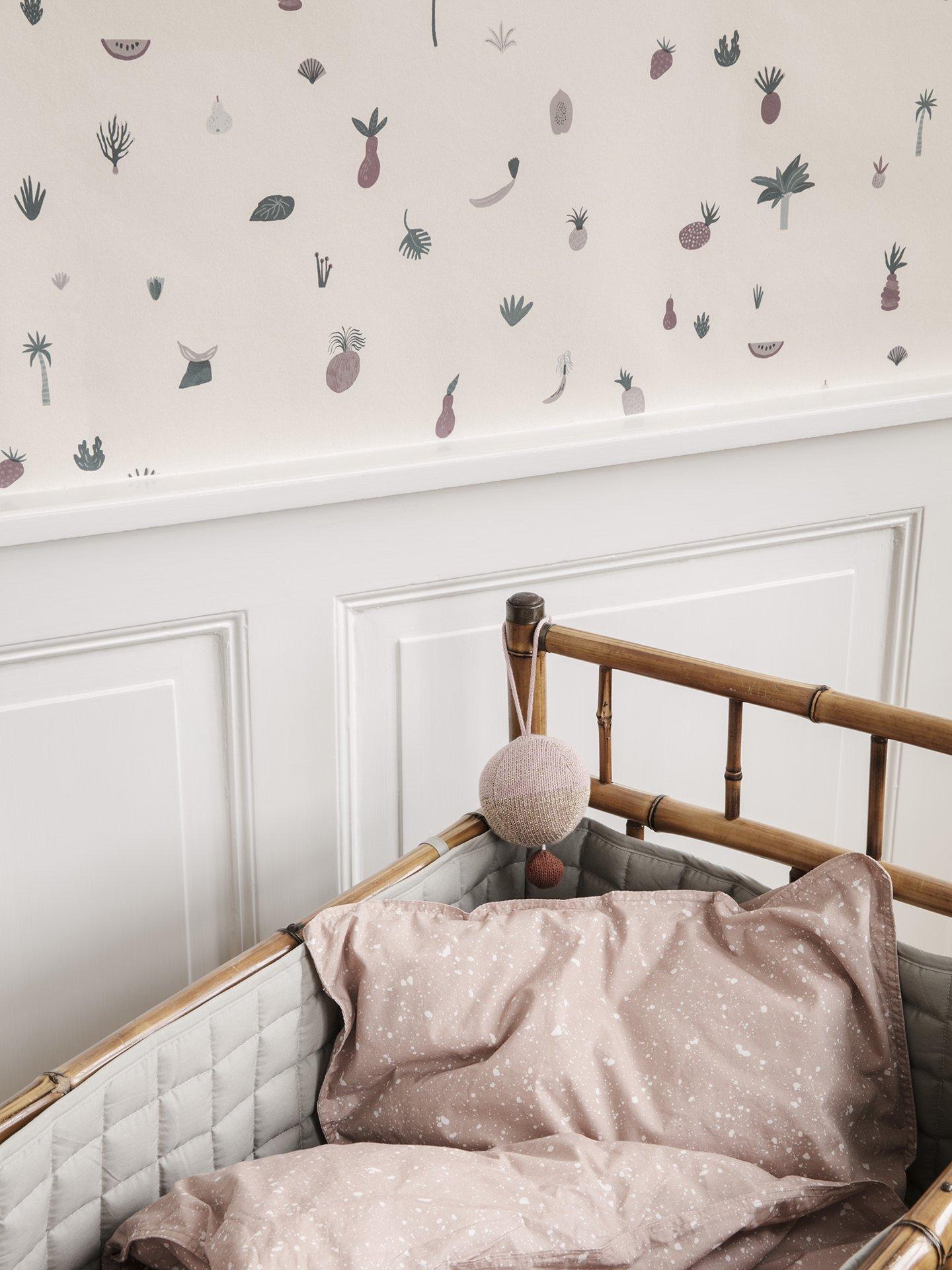 scandinavian feeling nursery decor kids wallpaper closeup